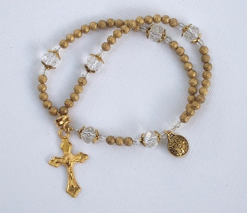 Gold Stardust Wrist Rosary Five Decade