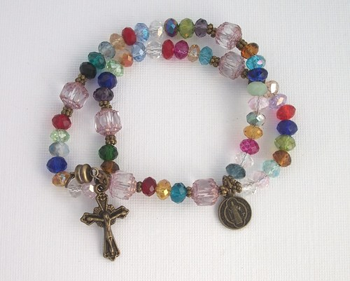 Stained Gl Wrist Rosary Five Decade