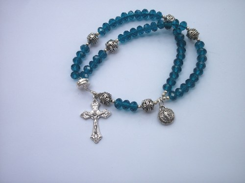 Turquoise Crystal Wrist Rosary Five Decade