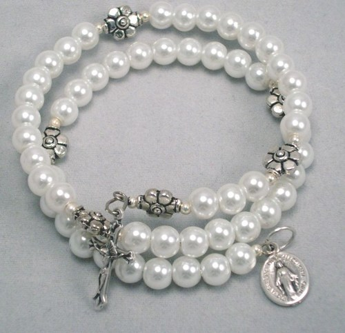White Gl Pearl Coil Five Decade Rosary Bracelet First Communion