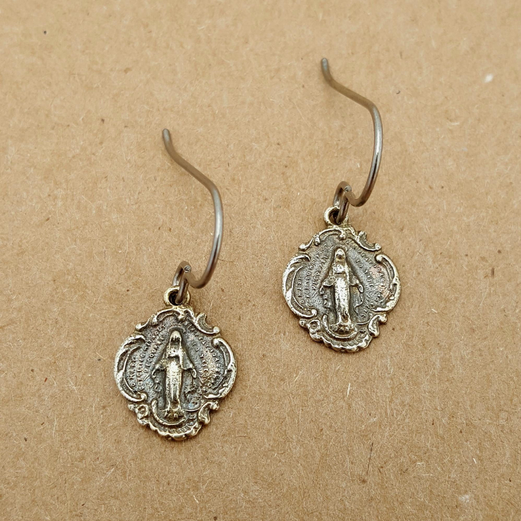 White Bronze Miraculous Medal Earrings